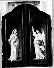 - Aanbidding door de herders (interieur, links) en de Annunciatie (Maria) (exterieur, links)