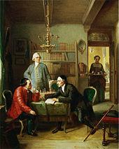 Lessing und Johann Caspar Lavater zu Gast bei Moses Mendelssohn, Gemälde von Moritz Daniel Oppenheim (1856) (Quelle: Wikimedia)