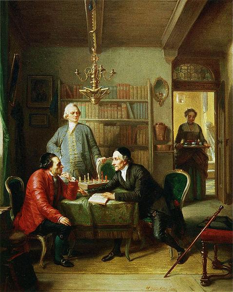 Mendelssohn (li) Lessing (staand), Lavater (re) geschilderd door Moritz Daniel Oppenheim, 1856