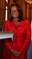 Mercedes de la Merced, secretaria general de la UCCI, distinguida como huesped de honor por Mauricio Macri, alcalde de Buenos Aires.jpg