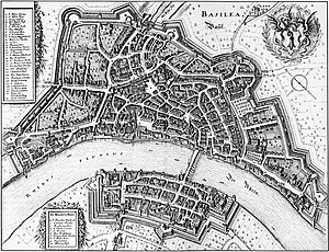Basel - Map of Basel in 1642, engraved by Matthäus Merian, oriented with SW at the top and NE at the bottom.