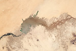 Water conflict in the Middle East and North Africa -  The Merowe Dam, as seen from space.