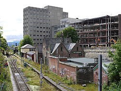 Metro Railway at former Jesmond Station from Jesmond Road (geograph 3600692).jpg