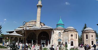 Mevlana Museum - View of the Mevlâna Museum, the şadırvan and the green dome.