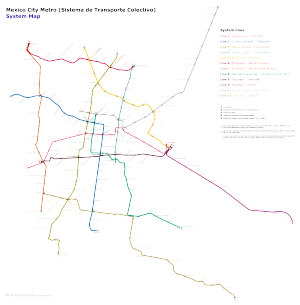 Mexico City Metro lines - Mexico City Metro system map as of October 2014.