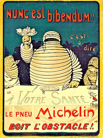 Bibendum (the symbol of the Michelin tyre company) takes his name from the opening line of Ode 1.37, Nunc est bibendum. Michelin Poster 1898.jpg