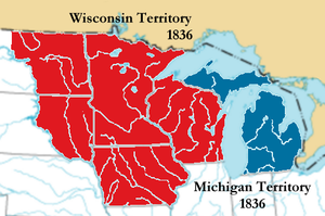Michigan Territory - Separation of the Wisconsin Territory from Michigan Territory in preparation for Michigan statehood. The combined red and blue areas form the Michigan Territory at its maximum extent.