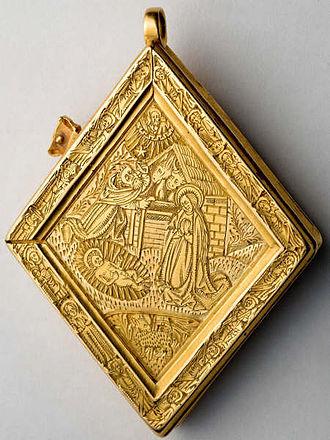 Middleham Jewel - Reverse of the Middleham Jewel, showing the Nativity of Jesus.