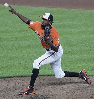 Miguel Castro - Castro pitching with the Orioles on July 2017