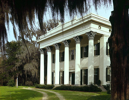Millford Plantation (1839-41), an example of Greek Revival architecture. Millford Plantation HABS color 2.jpg