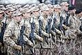 Ministru prezidents Valdis Dombrovskis vēro Nacionālo bruņoto spēku vienību militāro parādi 11.novembra krastmalā (6357757935).jpg