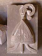 Mitre in stone Alcobaça Monastery.jpg