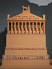 Model of the Mausoleum of Halicarnassus, constructed for King Mausolus during the mid-4th century BC at Halicarnassus in Caria, Bodrum, Turkey (17362934180).jpg
