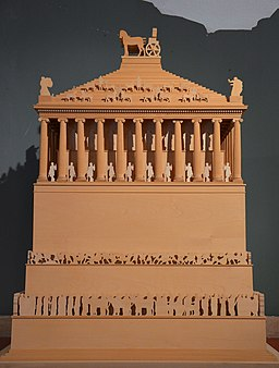 Model of the Mausoleum of Halicarnassus, constructed for King Mausolus during the mid-4th century BC at Halicarnassus in Caria, Bodrum, Turkey (17362934180)