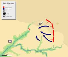jour 6 dernière phase, montrant la retraite générale de l'armée byzantine vers Wadi-ur-Ruqqad.