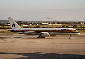 Monarch Airlines - Boeing 757-200 in the old livery, Alicante Airport, Spain