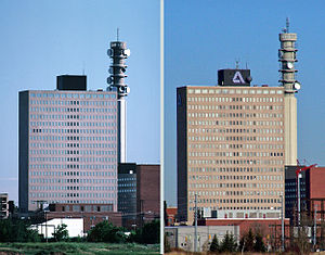 Bell Aliant Tower - A View of Moncton from 1987 and 2009 that shows the Bell Aliant tower and Assumption Place.
