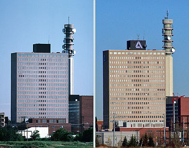 A View Of Moncton From 1987 And 2009 That Shows The Bell Aliant Tower Umption Place