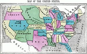 History of the United States (1849–65) - Period map of United States from a geography textbook published in 1856.