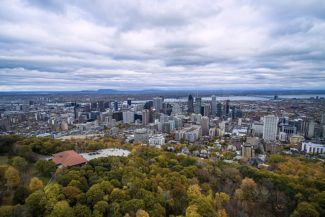 Aerial photo of downtown Montreal, Canada. Photo by John Lian.
