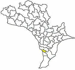 Mandal map of Krishna district showing Mopidevi mandal (in yellow)