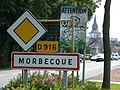 Morbecque (Nord, Fr) city limit sign.JPG