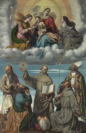 Sacra conversazione - Moretto da Brescia, The Virgin and Child with Saint Bernardino and Other Saints, a typical in aria composition, c. 1540-45.