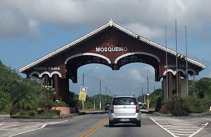 "Welcome arch on Pará Highway 391, which reads (in Portuguese): ""Mosqueiro: our beach, our home"""