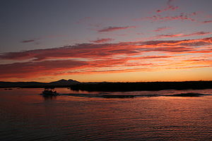 English: Sunset on Mildred Island in the Sacra...