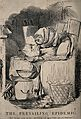 Mr. Punch wrapped up in blankets in front of the fire, eatin Wellcome V0016569.jpg