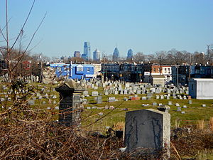 Mount Moriah Cemetery (Philadelphia) - View of Center City skyscrapers from near the Gatehouse