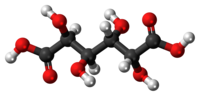 Ball-and-stick model of the mucic acid molecule