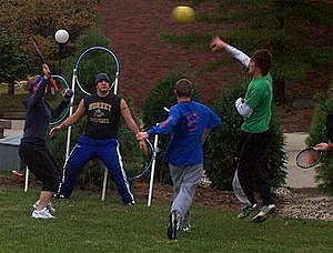 A Ravenclaw/Slytherin Muggle Quidditch game pl...