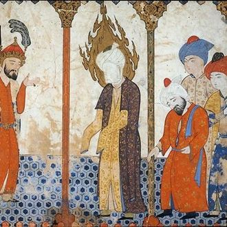 History of Asia - Muhammad is shown here in a mosque and without exposing any part of his body.