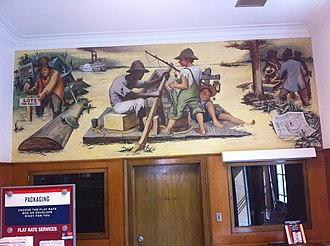 Palmyra, Missouri - WPA mural, Memories of Marion County by James Penny, in Palmyra post office