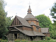 Museum of Folk Architecture and Ethnography in Pyrohiv - old wooden church from Zelene.jpg