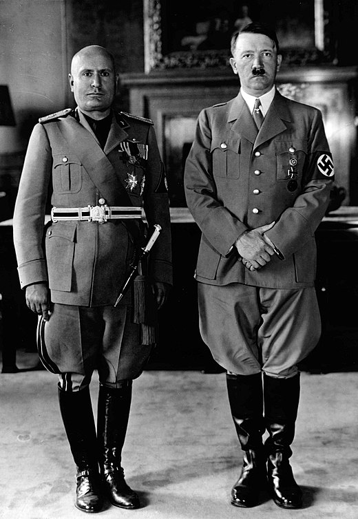 Benito Mussolini (left) and Adolf Hitler (right), the fascist leaders of the Kingdom of Italy and Nazi Germany, respectively Mussolini and Hitler 1940 (retouched).jpg