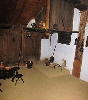 "Burdei - Interior of a bordei (burdei) dwelling. National Village Museum ""Dimitrie Gusti"", Bucharest"