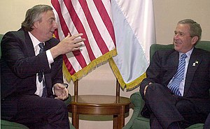 Néstor Kirchner y su par estadounidense George Bush (enero de 2004)