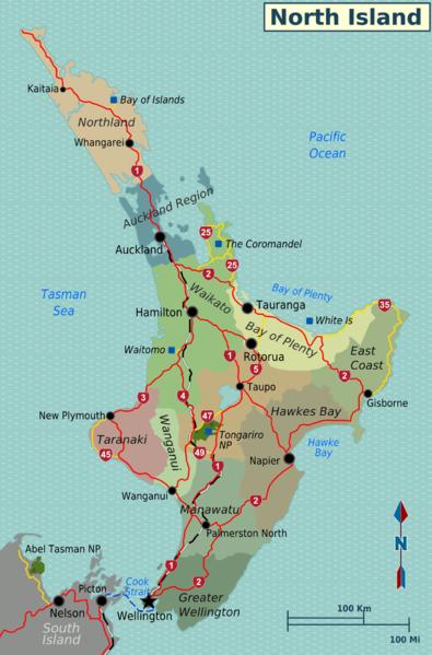 Karte der neuseeländischen Nordinsel