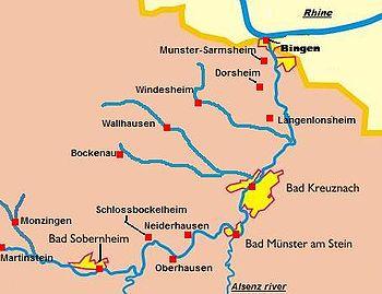 Nahe Wine Region Wikipedia - Germany vineyards map