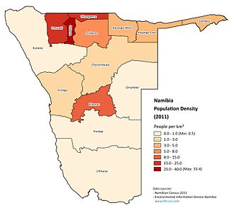 Demographics of Namibia - Population density in Namibia by regions (census 2011)