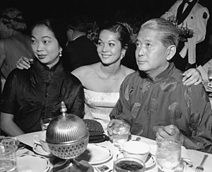 Flower Drum Song (film) - Nancy Kwan with her parents at the film's premiere.