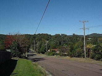 "Narara, New South Wales - Looking down Deane Street, Narara's ""Main Street"", towards the railway station"