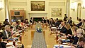 Narendra Modi in delegation level talks with the President, European Council, Mr. Donald Franciszek Tusk and the President, European Commission, Mr. Jean-Claude Juncker, at Hyderabad House, in New Delhi.jpg