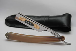 Thiers Issard - Fox and Rooster straight razor with a two pin handle