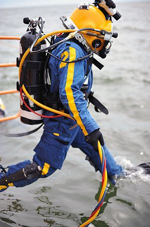 Alternative air source - Navy surface supplied diver with back mount bailout cylinder
