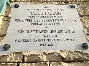 Nazju Falzon - Plaque on his house in Birkirkara.