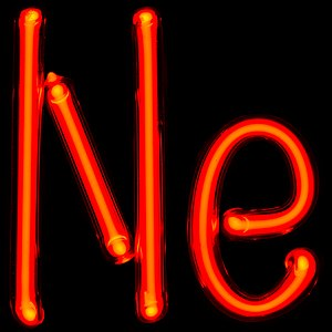 "Photograph of glass tube that's been bent to form the connected letters ""Ne"". The tube is glowing brightly with a red color."