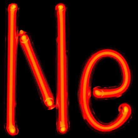 "Gas discharge tube containing neon, which was first displayed by Ramsay and Travers; ""Ne"" is the symbol for neon, one of the chemical elements. NeTube.jpg"
